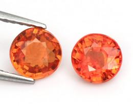 1.71 Cts 2 Pcs Amazing Rare Natural Fancy Orange Red Sapphire Loose Gemston