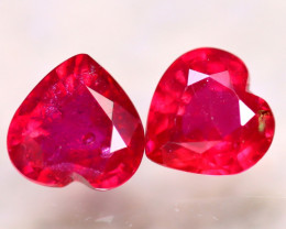 Ruby 2.84Ct 2Pcs Heart Shape Madagascar Blood Red Ruby EF2620/A20