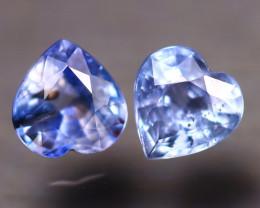 Unheated Sapphire 1.18Ct 2Pcs Natural Heart Shape Blue Sapphire EE2627/B32