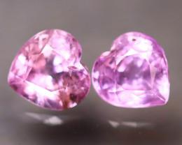 Unheated Sapphire 1.23Ct 2Pcs Natural Heart Shape Pink Sapphire EE2631/B32