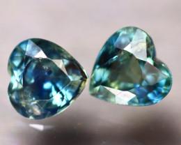 Unheated Sapphire 1.24Ct 2Pcs Natural Heart Shape Blue Sapphire EE2634/B32