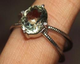 Natural Green Amethyst 925 Silver Ring 20