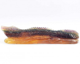 Genuine 1139 Cts Multicolor Fluorite Hand Carved Crocodile