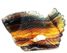 Genuine 1641 Cts Multicolor Fluorite Hand Carved Fish