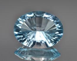Natural Blue Topaz 7.96 Cts Concave Cut.