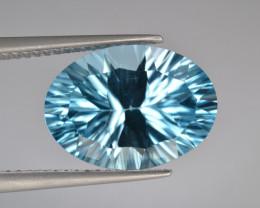 Natural Blue Topaz 8.18 Cts Concave Cut.