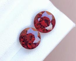 Garnet Red Round Pair 7.15 Carat Garnet Rhodolite Garnet