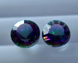 NR!!!! 1.50 CTs Natural & Unheated~ Multi Color Coated Quartz Gemstone Pair