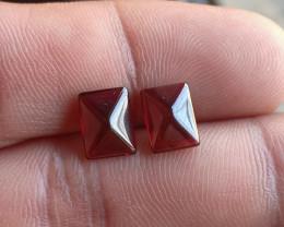 Natural Garnet Cabochon Caliberated Pair Genuine Gemstones VA2282