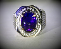 Amethyst 5.80ct Platinum Finish Solid 925 Sterling Silver Ring