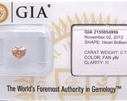 0.72ct Natural Fancy  Yellowish Brown Heart  Diamond GIA certified  + Video