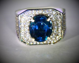 London Blue Topaz 3.78ct Platinum Finish Solid 925 Sterling Silver Ring