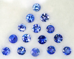 2.02 Cts Natural Purple Blue Tanzanite 3mm Round Cut 15Pcs Tanzania