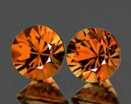 5.80 mm Round 2 pcs 2.36cts Orange Zircon [VVS]