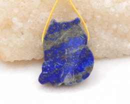 90.5cts Lovely Cat Bead,Natural Lapis Handcarved Animal Cat Pendant H1154