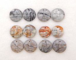 6 pairs carved  picasso jasper Earrings earrings beads, stone for earrings