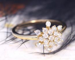 Snowflake Design Natural Diamond D VVS 9K Yellow Gold Ring J01R