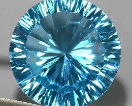 28.05 CTS DAZZLING !LASER FANCY CUT ROUND COLOR BLUE-TOPAZ GENUINE!