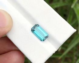HGTL CERTIFIED 2.46 Ct Natural Blue Indicolite Transparent Tourmaline Ring