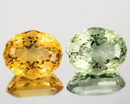 ~CUSTOM CUT~17.70 Cts Natural Green Prasiolite / Citrine Fancy Oval Cut Bra