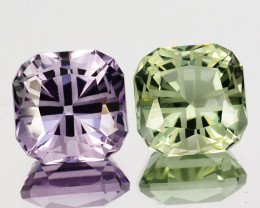 ~CUSTOM CUT~ 12.40 Cts Natural Pink Amethyst & Green Amethyst Fancy Cushion