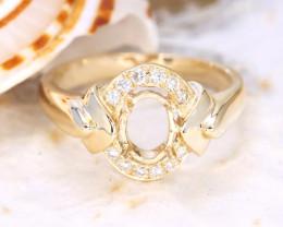 Oval 7x5mm Semi Mount Engagement Diamond 9K Gold Ring J56R