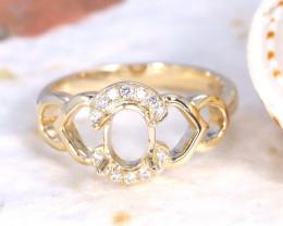Oval 7x5mm Semi Mount Engagement Diamond 9K Gold Ring J59R
