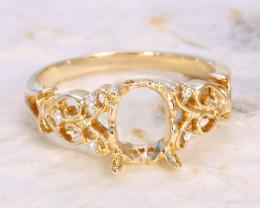 Oval 8x6mm Semi Mount Engagement Diamond 9K Gold Ring J66R