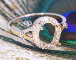 Oval 8x6mm Semi Mount Engagement Diamond 9K Gold Ring J65R