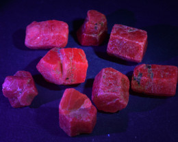 Natural Ruby Crystal Type Rough 102 Cts Lot, Strong UV Fluorescence