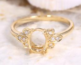 Oval 7x5mm Semi Mount Engagement Diamond 9K Gold Ring J60R