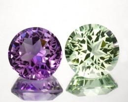 ~CUSTOM CUT~ 14.64 Cts Natural Beautiful Green Prasiolite & Purple amethyst