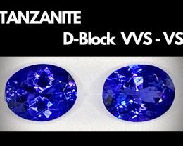 Exquisite! Rare! D-Block VVS - VS Violet-Blue Tanzanite Pair/2Pcs