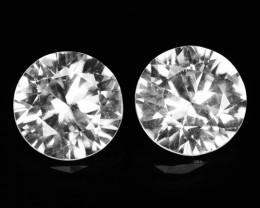 ~DIAMOND CUT~ 2.22 Cts Natural White Zircon 6mm Round 2Pcs Tanzania