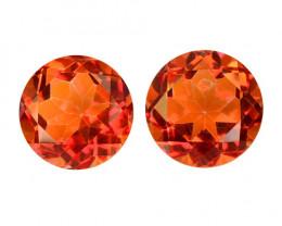 *NoReserve* Mystic Quartz 7.64 Cts 2Pcs Fancy Orange Red Color Natural Gems