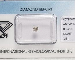 IGI Certificate Diamond  0.24 ct  Round Cut  Light Brown  VS1