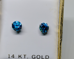 Incredible $900 Nat 1.52 tcw. Blue Topaz Solitaire Stud Earrings 14K WG