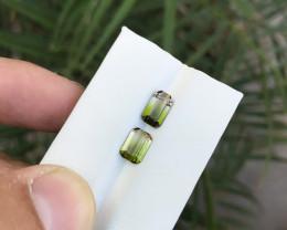 2.70 Ct Natural Bi Color Transparent Tourmaline Gemstones Pairs