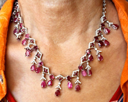 214.0 Tcw. Ruby Garnet Sterling Silver White Gold Plate Necklace