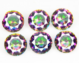 3.96 Cts 6 Pcs Rare Fancy Rainbow Colors Natural Mystic Quartz