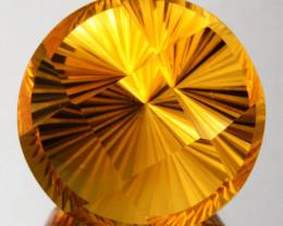 ~CUSTOM CUT~ 34.54 Cts Natural Golden Orange Citrine Fancy Round Brazil