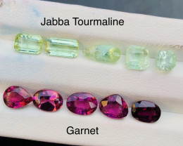 Combine 9.15 cts Garnet and Jabba Tourmaline Parcel ring size
