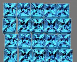 2.30 mm Square Princess 35 pcs 2.88cts Swiss Blue Topaz [VVS]