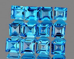 4.00 mm Square 12 pcs 4.92cts Swiss Blue Topaz [VVS]