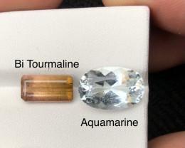 7.20 ct Aquamarine and Bi Color Tourmaline Ring sizes