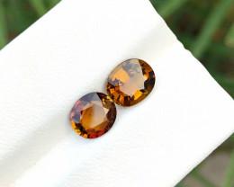 2.30 Ct Natural Golden Orange Superb Luster Tourmaline Gems Pairs