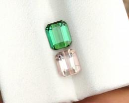 2 Ct Natural Green & Pinkish Tourmaline Ring Size Gemstones Reverse Pairs
