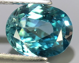 3.45 CTS~TOP LUSTROUS NATURAL CAMBODIA OVAL~BLUE ZIRCON!!