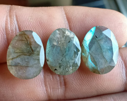 NATURAL LABRADORITE 3 Pcs Rose Cut Gemstones VA2482