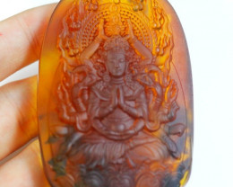 Natural Amber Guan Yin Bodhisattva Carving Pendant